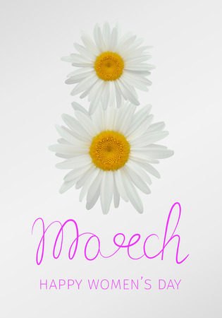 8 march - happy womans day. Greeting card with daisies or chamomiles forming the number eight