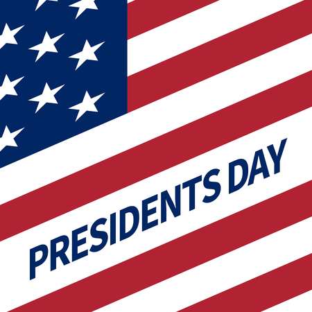 Happy Presidents Day banner with elements of the national flag of the United States tilted at an angle