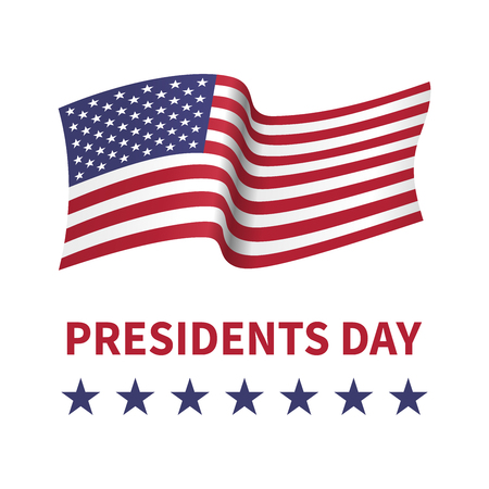 Happy Presidents Day banner with flying flag of USA