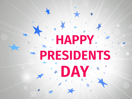 Happy Presidents Day poster with glow and rays on a white background with flying stars  Illustration