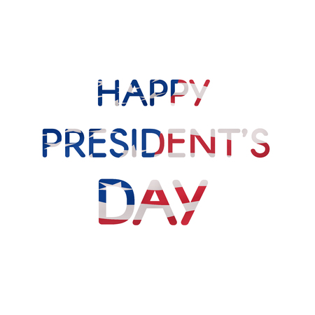 Happy Presidents Day text banner textured US flag. Trendy vector design template