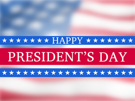 Happy presidents day - poster with the blurred flying  flag of the USA  with glow. Patriotic background with USA symbols Ilustrace