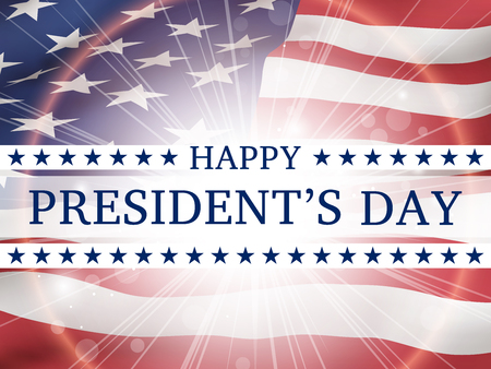 Happy presidents day - poster with the flying  flag of the USA  with glow. Patriotic background with USA symbols Ilustrace