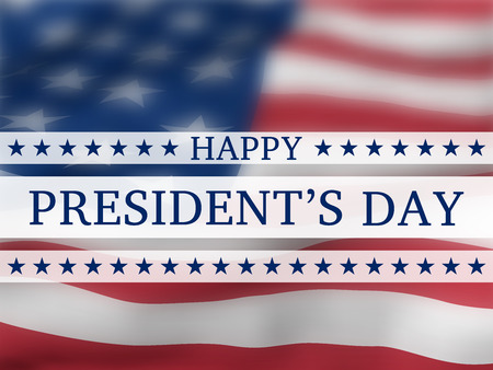 Feliz día del presidente - cartel con la bandera voladora borrosa de los Estados Unidos con brillo. Fondo patriótico con símbolos de Estados Unidos