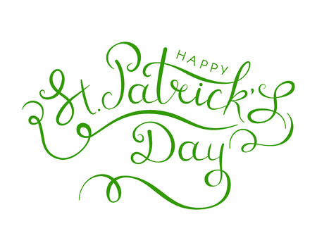 Saint Patricks Day. Drawn lettering Patricks of floral shapes. St. Patricks Day card