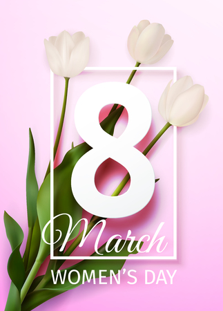 Vector illustration Happy Women's Day March 8 holiday greeting card with a bouquet of white tulips on light pink background with frame Banque d'images - 96199237