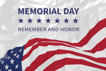 Memorial day background with american flag waving in the wind in a triangular style Vectores