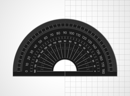 School supplies. Measuring tool. Black plastic protractor on white and sheet in a cell. Drawing device is an arc divided into degrees to measure the angles and apply them to the drawing Vetores