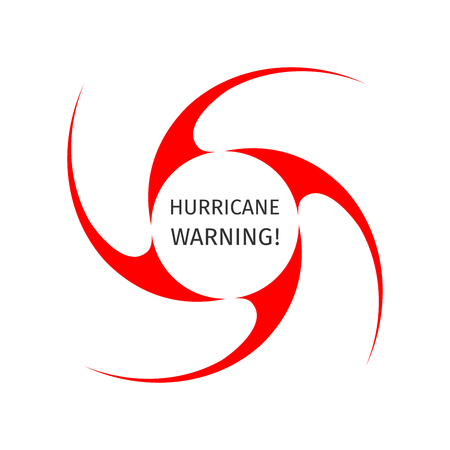 Hurricane indication. Graphic symbol of hurricane warning. Icon, sign, banner, indication of the hurricane, vortex, tornado
