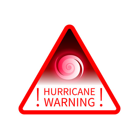 Red triangular Informing road sign warning about hurricane