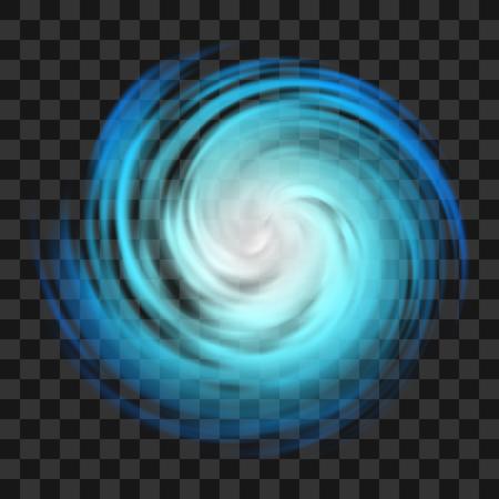 Simbolo blu dell'uragano, tornado, tifone, nuvole bianche di turbolenza, tornado su sfondo scuro trasparente, vista dall'alto. Pericolo ciclone illustrazione vettoriale, icona, logo, web infografica
