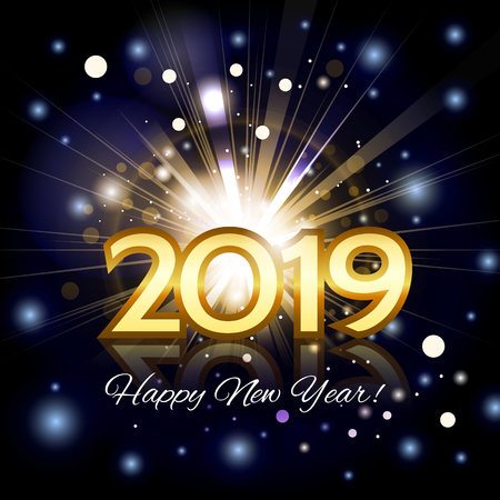 2019 golden number happy new year greeting card with bright rays with particles on the night background. Eps10 vector.