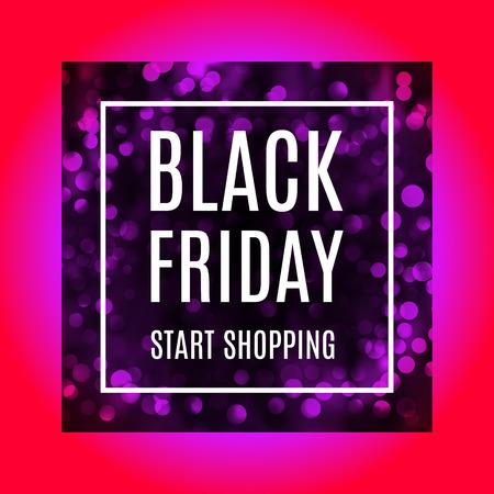 Black friday start shopping advertising banner with light bokeh in reddish purple version. Promotional flyer. Eps 10 vector.