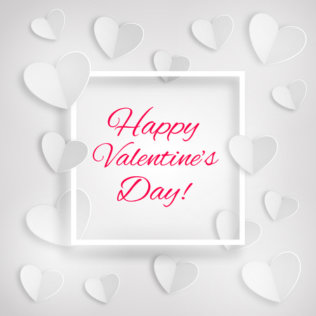 Greeting card with white hearts and a frame with inscription Happy Valentine's Day on white background. Paper design. vector.  イラスト・ベクター素材