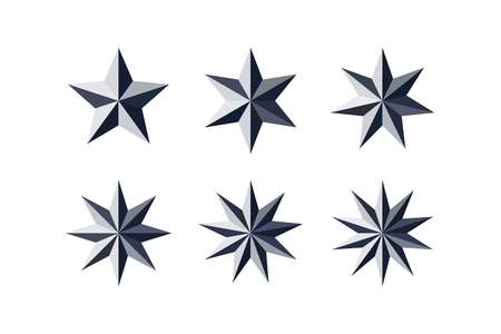 Set of beautiful faceted shiny black paper stars isolated on white. Five, six, seven, eight, nine, ten pointed star isolated on white. Geometric figures. Design elements. EPS 10 vector.