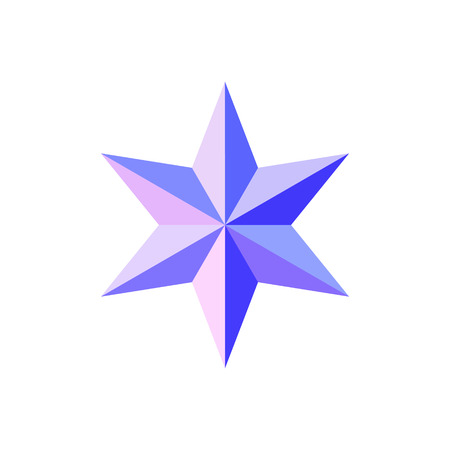Beautiful six-pointed faceted shiny pink blue star isolated on white. Geometric figure. Design element. EPS 10 vector.
