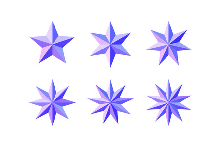 Set of beautiful faceted shiny pink blue stars isolated on white. Five, six, seven, eight, nine, ten pointed star isolated on white. Geometric figures. Design elements. EPS 10 vector.