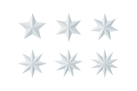 Set of beautiful faceted shiny white paper stars isolated on white. Five, six, seven, eight, nine, ten pointed star isolated on white. Geometric figures. Design elements. EPS 10 vector. Illustration