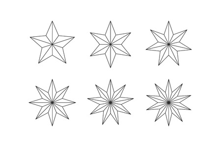 Set of edged faceted stars. Five, six, seven, eight, nine, ten pointed star isolated on white. Geometric figures. Design elements. EPS 10 vector. Ilustração