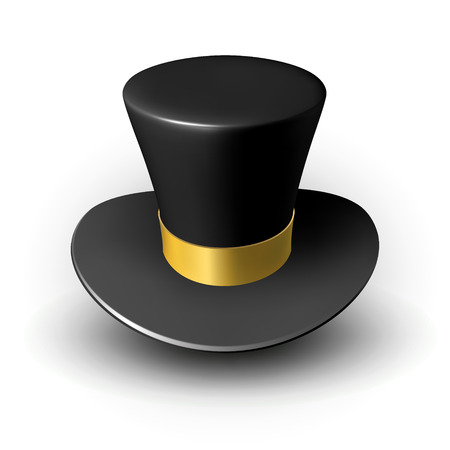 Black wizard cap with gold ribbon. Three-dimensional vector illustration