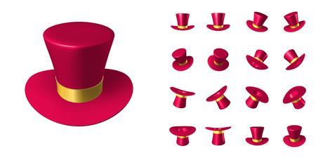 Red wizard cap with gold ribbon. Three-dimensional vector illustration. Set of cartoon objects in different positions in space Illustration