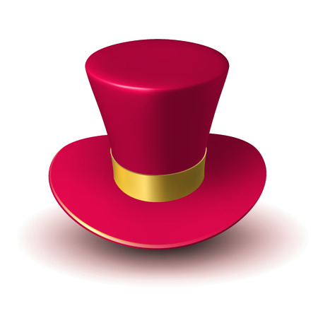 Red wizard cap with gold ribbon. Three-dimensional vector illustration