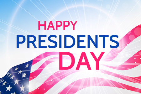 Happy Presidents Day greeting on waving USA flag. Vector EPS 10 illustration