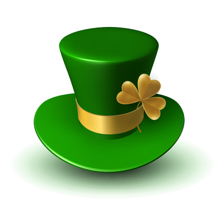 Green St. Patrick's hat with gold ribbon and three-leaf clover leaf. Three-dimensional vector illustration of traditional Irish folk headdress.