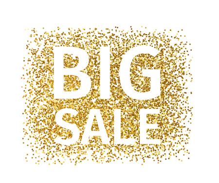 Banner creativo di particelle d'oro con testo bianco Big Sale