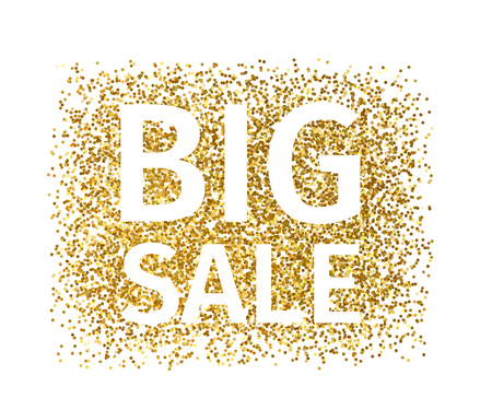 Creative banner of gold particles with white text Big Sale