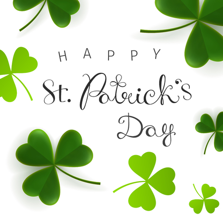 St. Patricks Day greetings. Greeting card, banner with caligraphic inscription and clover leaves. Irish traditional holiday
