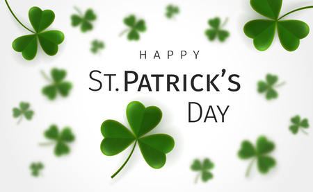 St. Patricks Day greetings card with flying clover leaves on a white background. Leaves on backdrop are blurred. Irish traditional holiday Illustration