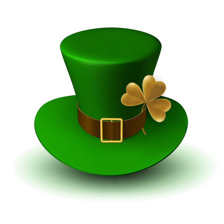 St. Patrick Carnival Green Hat with Belt and Buckle and Three-Leaf Clover Leaf. 3d vector illustration of folk Irish headdress
