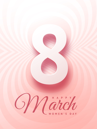 March 8 elegant greeting card with bold figure eight and inscription Happy Women Day on gentle pink background with concentric ripples with gradient.