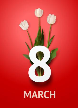 Bouquet realistico di tre tulipani bianchi con testo in grassetto 8 marzo su sfondo rosso. Biglietto di auguri 8 marzo. Modello di vacanza