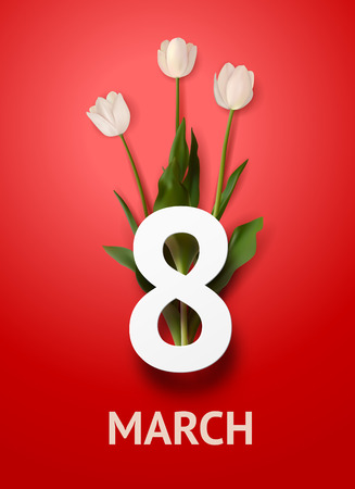 Realistic bouquet of three white tulips with bold text march 8 on red background. March 8 greeting card. Holiday template