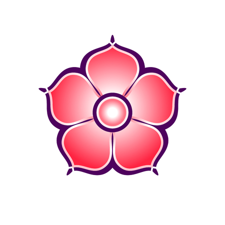 Flat colorful icon of sakura flower with five petals. For design of cards, flyers, posters, ornaments, greetings, logos, etc.