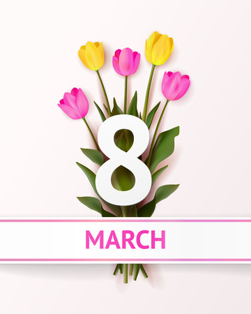 Realistic bouquet of pink and pink tulips with bold text march 8 and white ribbon with rose stripes on white background. March 8 greeting card. Holiday template Ilustração