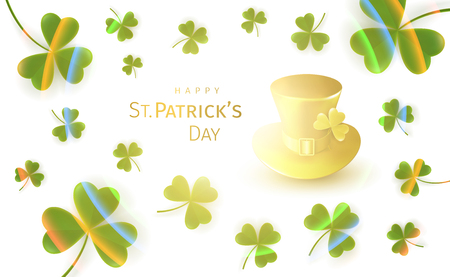 St. Patricks Day Greeting Card with flying clover leaves and golden gnome hat on a white background with a bright glow and rainbow. Irish traditional national holiday