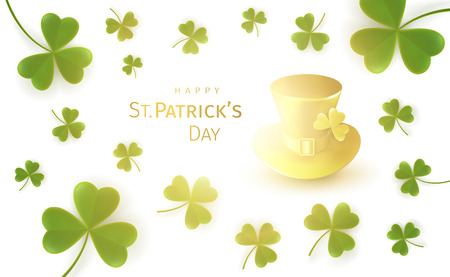 St. Patricks Day Greeting Card with flying clover leaves and golden gnome hat on a white background with a bright glow. Irish traditional national holiday