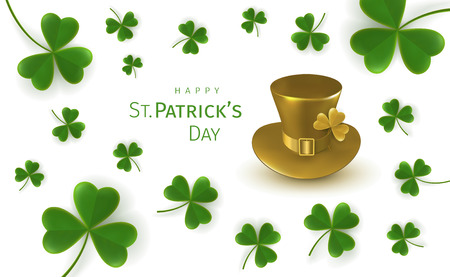 St. Patricks Day greetings card with flying clover leaves and gold leprechaun hat on a white background. Irish traditional national holiday