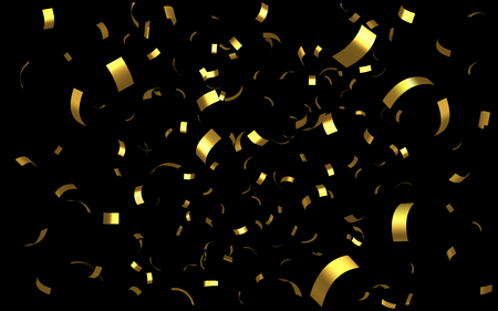 Falling shiny golden confetti from curved foil isolated on black background. Gold color bright festive tinsel