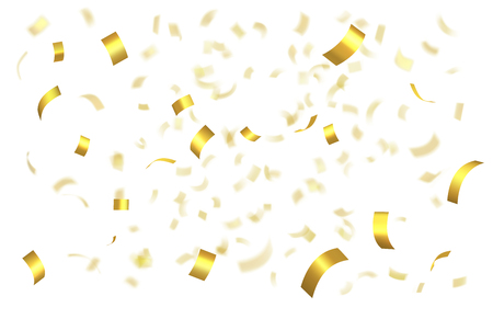 Falling shiny golden confetti isolated on white background with depth of field in foreground and blurred particles in the background. Realistic bright festive tinsel golden color Иллюстрация