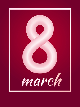 March 8 from pink abstract rounded curve with a frame on red background. International Womens Day symbol. Trendy 3d figure eight for greeting card, flyer or brochure template
