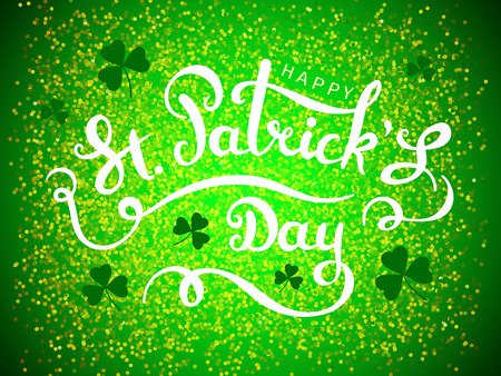 Elegant design caligraphic greeting card. Happy St. Patricks Day on green background from particles