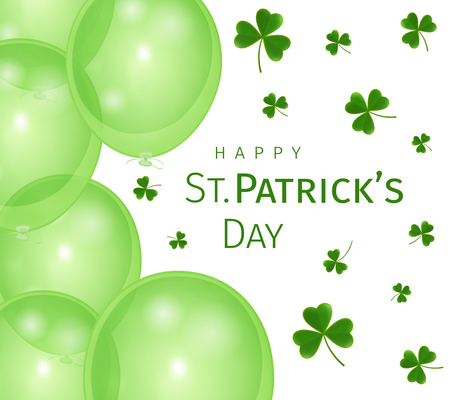 Abstract St. Patricks Day greeting card with clover leaves and balloons