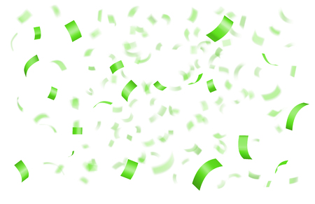 Falling shiny green confetti isolated on black background with depth of field in foreground and blurred particles in the background. Realistic bright festive tinsel Illustration