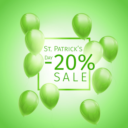 20 percetn off St. Patricks Day Banner with flying green and white balloons and frame on green background