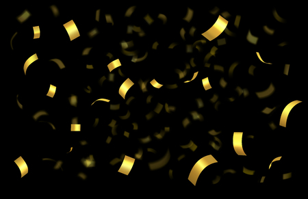 Falling shiny golden confetti isolated on black background with depth of field in foreground and blurred particles in the background. Realistic bright festive tinsel golden color
