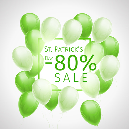 Banner with 80 percent sale discount for St. Patricks Day with flying green and white balloons and a frame on white background